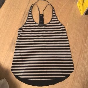 Lululemon black and white striped tank